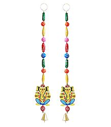 Set of 2 Hand Painted Hanging Ganesha with Colorful Wooden Beads - Wall Hanging