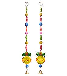 Hanging Om Kalash with Colorful Wooden Beads