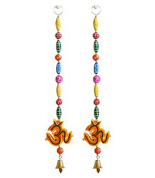 Hanging Om wiith Colorful Wooden Beads