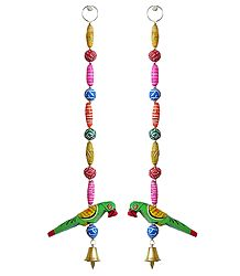 Buy Online Hanging Parrots wiith Colorful Wooden Beads