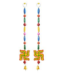 Buy Hanging Swastik wiith Colorful Wooden Beads