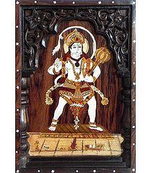 Veer hanuman - Inlaid Rosewood Wall Hanging