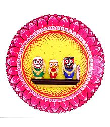Wooden Jagannath, Balaram, Subhadra on Hardboard - Wall Hanging