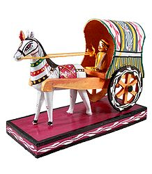 Horse Cart Carrying a Lady - Kondapalli Doll