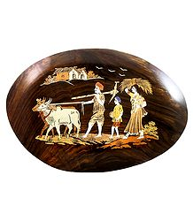 Farmer Family - Inlaid Rosewood Wall Hanging