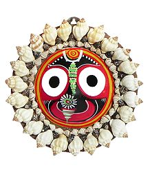 Jagannath Face Decorated with Conch Shells (wall Hanging)