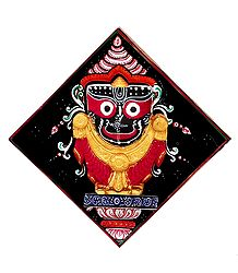 Wooden Jagannath on Hardboard - Wall Hanging