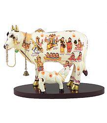 Kamdhenu - The Sacred Cow - Wood Statue