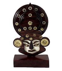 Decorated Wooden Kathakali Face with Base