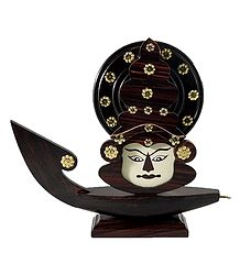 Decorated Wooden Kathakali Face on Boat