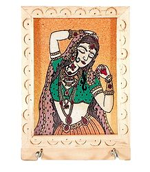 Crushed Real Gemstone Painted Dancing Girl on Wooden Key Rack with Two Hooks - Wall Hanging