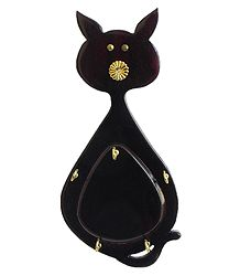 Cat Shaped Key Rack with Five Hooks - Wall Hanging