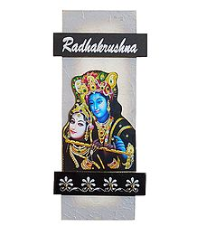 Radha Krishna Picture on Wooden Key Rack