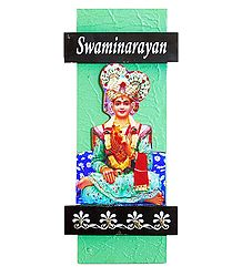Swaminarayan Picture on Wooden Key Hanger with 4 Hooks - Wall Hanging