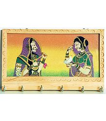 Crushed Real Gemstone Queen and Princess Painting Wooden Key Rack with Six Hooks - Wall Hanging