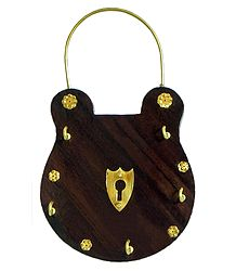 Lock Shaped Key Rack with Four Hooks - Wall Hanging