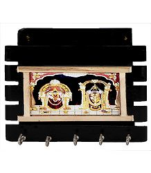 Balaji and Mahalakshmi on Paper Holder with Five Key Rack Hooks - Wall Hanging