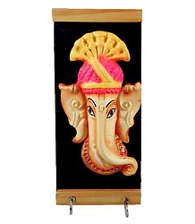 Wooden Key Rack with Two Hooks & Terracotta Ganesha Figurine - Wall Hanging
