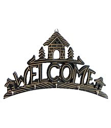 House with Welcome Key Rack with Five Hooks - Wall Hanging