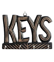 Key Rack with Four Hooks - Wall Hanging