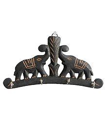 Two Elephants Key Rack with Four Hooks - Wall Hanging
