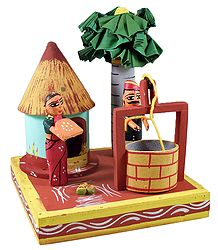 Couple in Front of Hut with Well and Palm Tree - Kondapalli Doll
