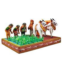 Farmer Ploughing and Women Sowing in the Field - Kondapalli Doll