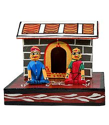 Couple Sitting in Front of Hut - Kondapalli Dolls