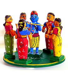 Krishna with Gopinis - Wooden Kondapalli Dolls