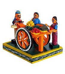 Vegetable Seller with Cart - Wooden Kondapalli Doll