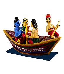 Rama, Sita and Lakshmana on Boat - Wood Statue