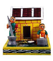 Rural Women Doing Household Chores - Kondapalli Dolls