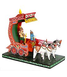 Krishna and Arjuna on a Chariot during Kurukshetra War in Mahabharata - Kondapalli Doll