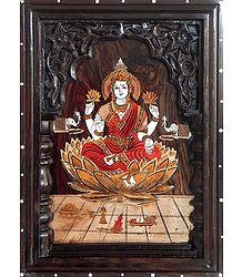 Lakshmi - Inlaid Rosewood Wall Hanging