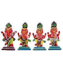 Set of 4 Musician Ganesha