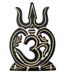 Om with Trident Key Rack with 3 Hooks - Wall Hanging