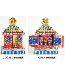 Jagannath, Balaram and Subhadra in a Hand Painted Temple