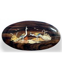 Peacock Couple - Inlaid Wood Wall Hanging