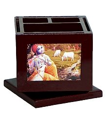 Revolving Pen Holder with Replaceable Pictures