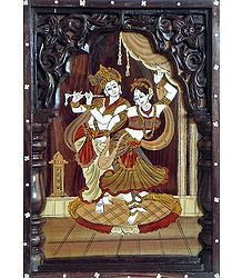 Radha Dances to the Tune of Krishna's Flute - Inlaid Rosewood Wall Hanging