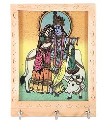 Crushed Real Gemstone Painted Radha Krishna on Wooden Key Rack with Three Hooks - Wall Hanging