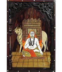 Sri Raghavendra Swamy - Inlaid Rosewood Wall Hanging