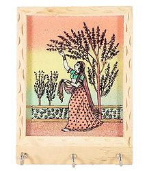 Crushed Real Gemstone Painted Ragini on Wooden Key Rack with Three Hooks - Wall Hanging