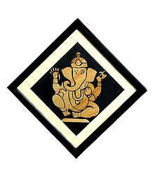 Ganesha - Straw Craft - Framed with Glass