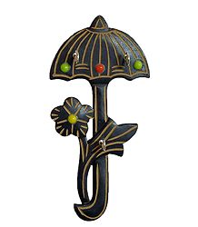 Wood Carved Umbrella with 3 Hooks Key Hanger - Wall Hanging