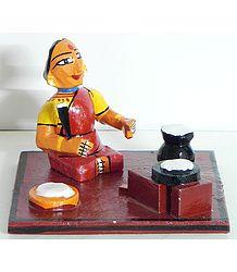 Village Woman Cooking Food - Kondapalli Doll