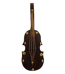 Wooden Violin with 4 Hooks Key Hanger