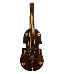 Wooden Violin with 3 Hooks Key Hanger