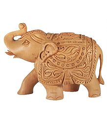 Wood Carved Elephant Statue
