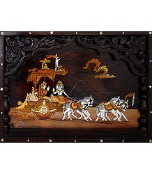 Lord Krishna Preaching Gita to Arjuna During Kurukshetra War - Wood Inlay Work